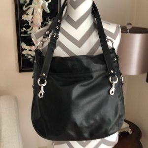 🎉 Coach Zoe Convertible Black Leather Hobo Bag